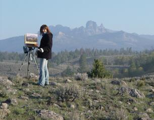 Leslie Kirchner painting in Wyoming