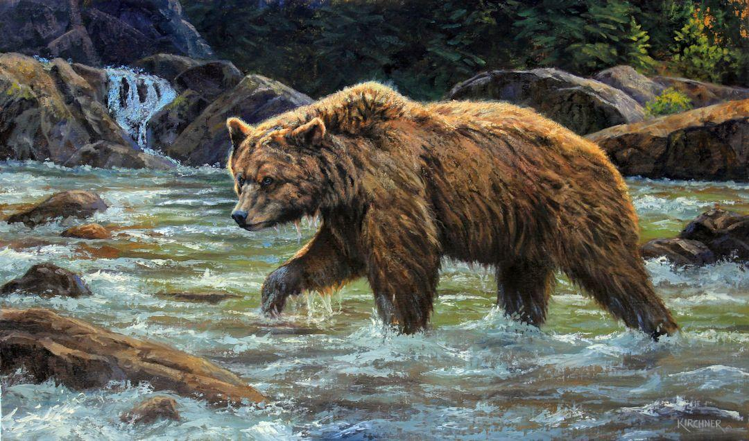 nature art, grizzly bear, grizzly bear hunting, grizzly bear fishing, Leslie Kirchner, leslie kirchner art, leslie kirchner paintings, grizzly bear art, grizzly bear painting, grizzly bear artwork, leslie kirchner grizzly bear painting, fish hunter grizzly bear
