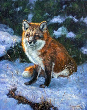 red fox, red fox art, western art, nature art, nature artist, red fox painting, red fox art, red fox oil painting, wildlife art, wildlife artist, leslie kirchner, leslie kirchner artist, leslie kirchner art, fox painting, fox, foxes, north american foxes, fox in snow